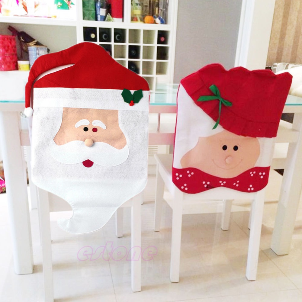1pc 1set Lovely Christmas Chair Covers Mr Mrs Santa Claus Decoration Dining Room Cover Home Party Decorations For