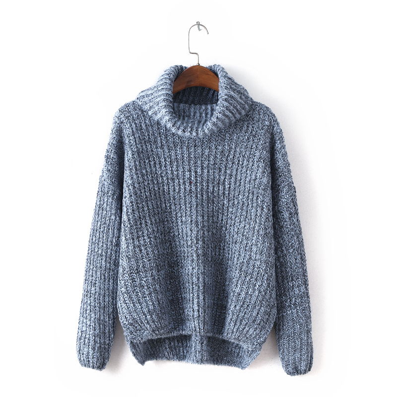 Turtleneck Long Sleeves Ribbed Sweater