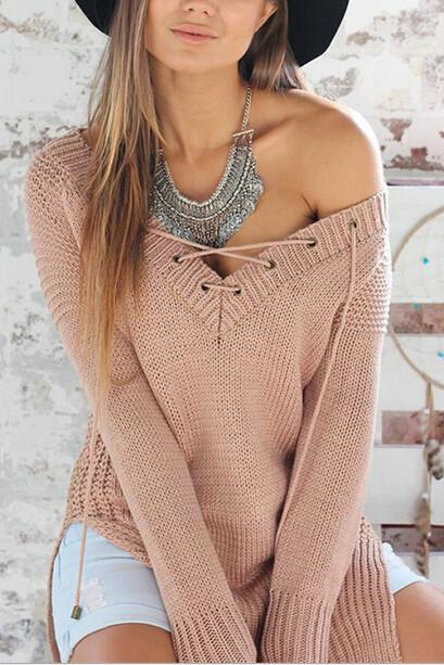 DEEP V CROSS SWEATER