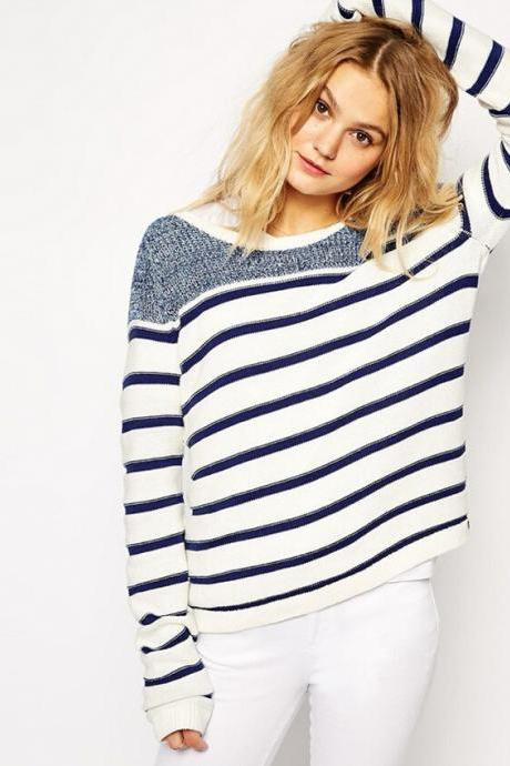 Fashion Striped Knit Sweater