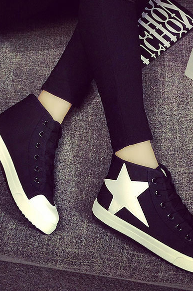 Casual Canvas Sneakers with Star on the Side