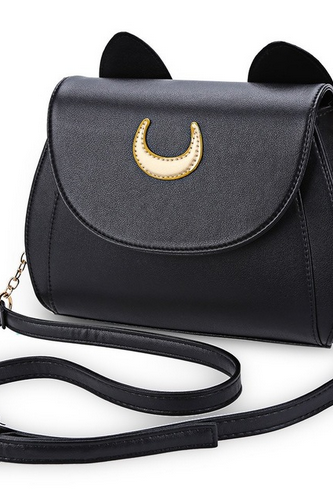Summer Sailor Moon Ladies Handbag Black Luna Cat Shape Chain Shoulder Bag PU Leather Women Messenger Crossbody Small Bag