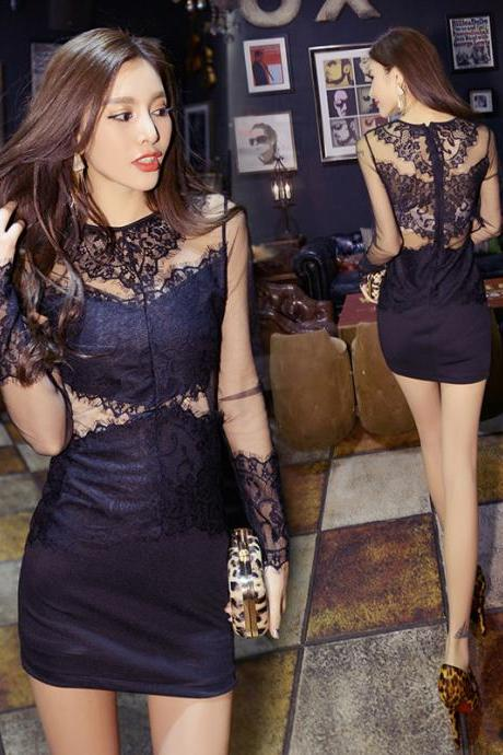 Sexy lace hollow-out high-waisted dresses