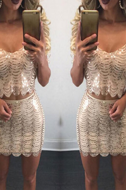 Gold sequins sexy condole belt skirt two-piece outfit
