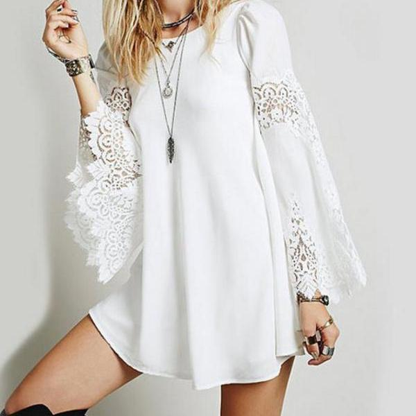 ON SALE CHIFFON STITCHING BUD LOOSE LONG-SLEEVED A-LINE DRESS
